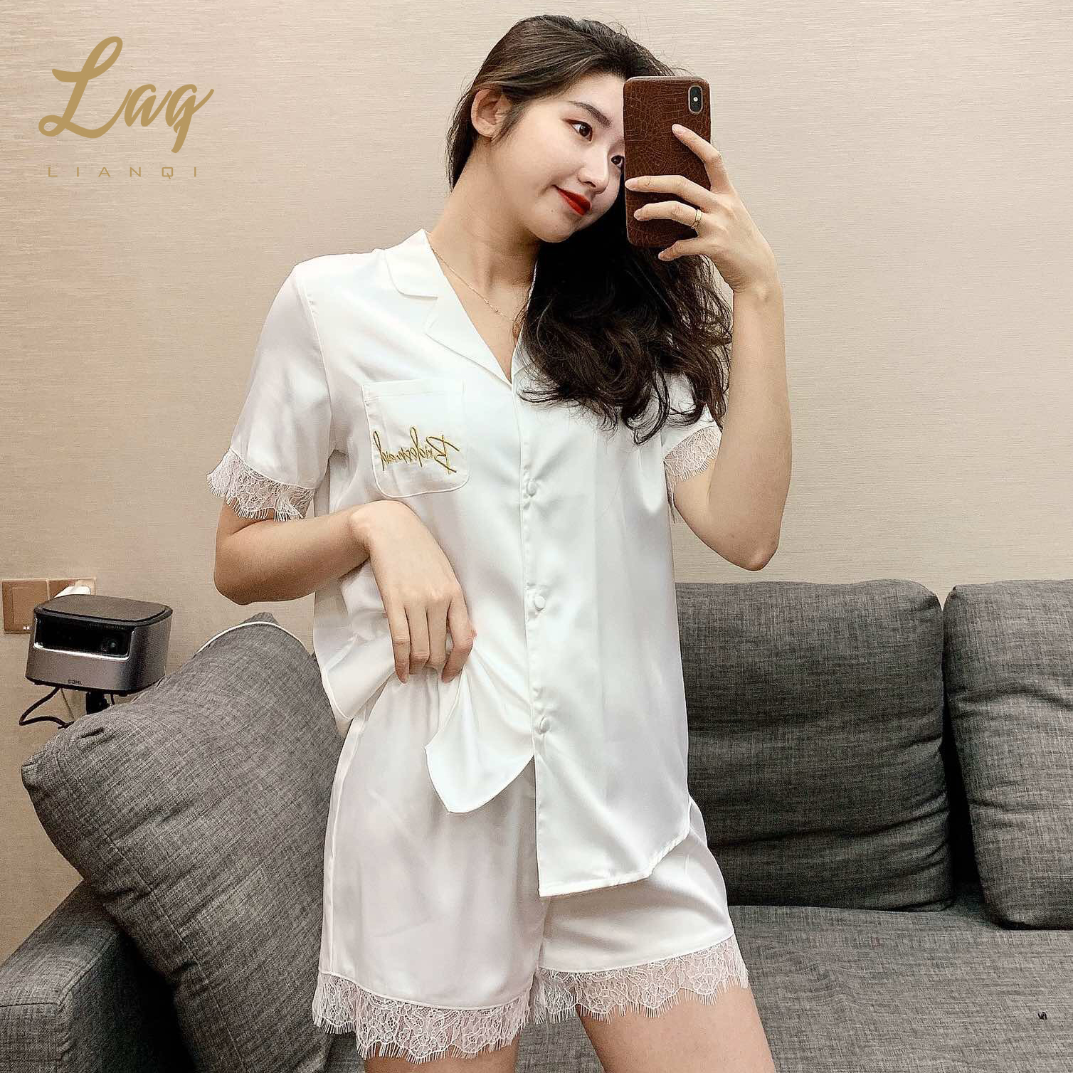 Leange 2020 summer new pajamas womens short sleeve shorts lace splicing womens suit home clothes marriage recommendation