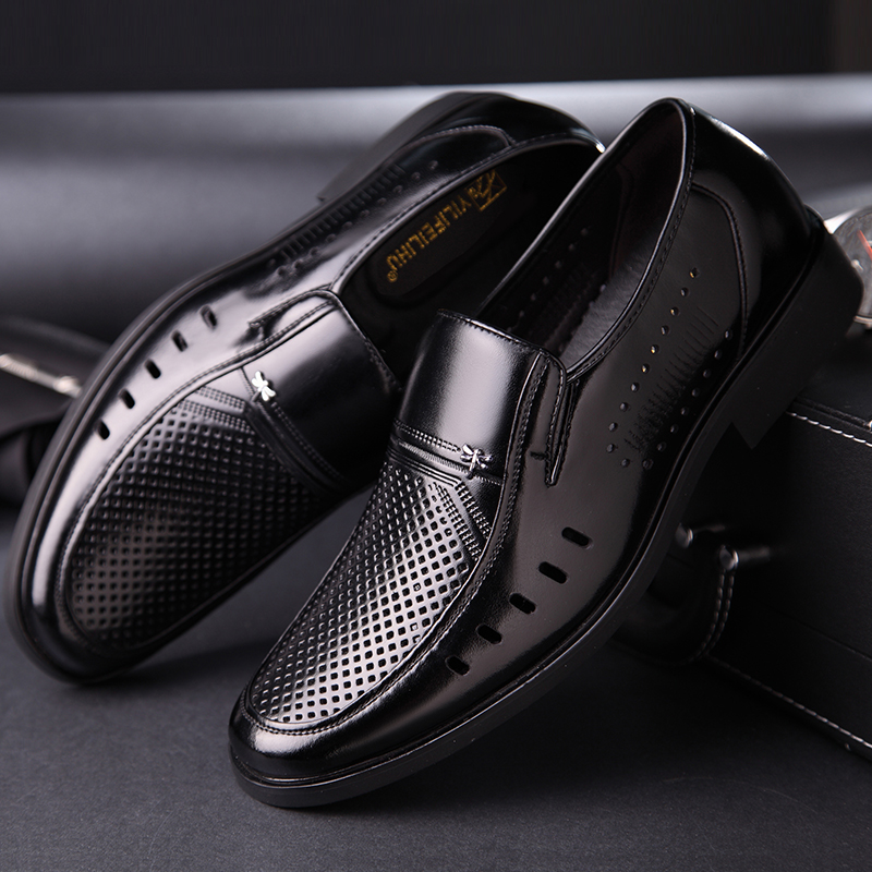 High heeled Baotou sandals mens hollow mesh breathable mens shoes leather hole hidden inside high soft face leather dad shoes