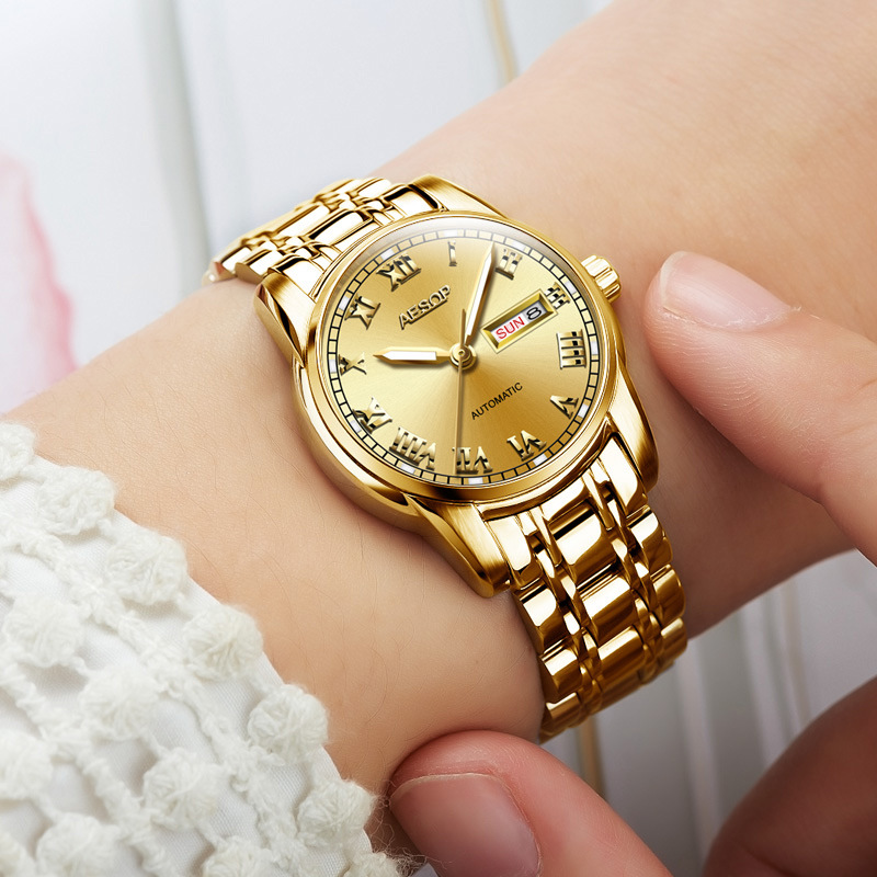 Brand watch waterproof automatic double calendar womens watch fashion business round stainless steel strap