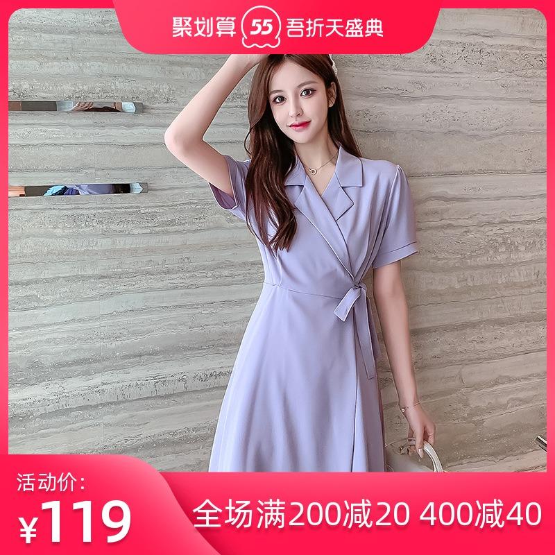 2021 summer new Korean style suit collar solid color shirt skirt retro show slim Short Sleeve Dress