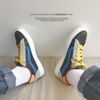 18春季新款-韩版拼色潮流鞋子男学生透气帆布鞋青少年休闲滑板鞋