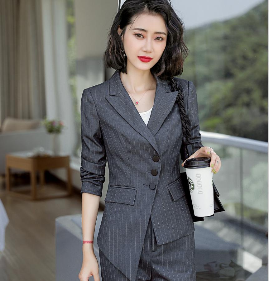 2019春秋条纹职业装女西装套装OL正装时尚不规则工作服名媛小香风
