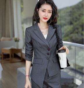 2020春秋條紋職業裝女西裝套裝OL正裝時尚不規則工作服名媛小香風