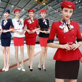 2020春夏季新款职业装美容师酒店前台空姐中袖工作制服两件套装图片