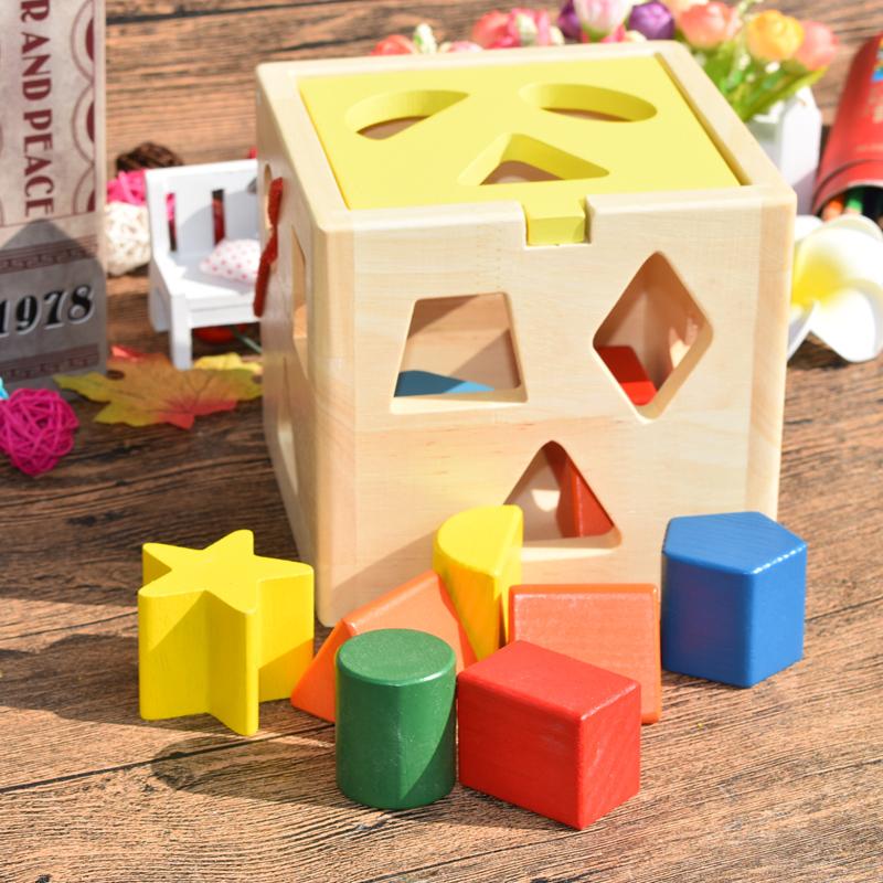 Двенадцать отверстие интеллект коробка форма пара обучения в раннем возрасте познавательный головоломка строительные блоки игрушка 1-2-3 лет познавательный геометрия борьба куча