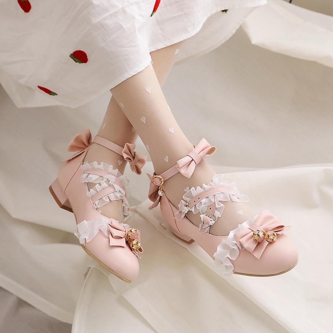 洛丽塔低跟单鞋女JK原创lolita鞋子日系甜美蝴蝶结粗跟学生lo鞋