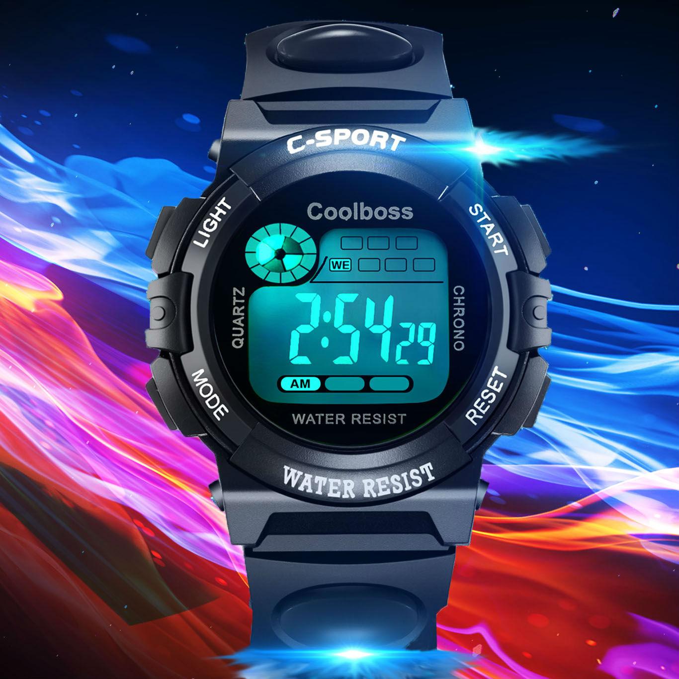 兒童手錶男孩女孩防水夜光計時運動男童初中小學生手錶男童電子錶