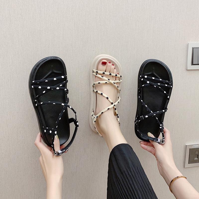 2020新款夏季仙女风平底凉鞋时尚百搭厚底学生罗马鞋网红ins潮鞋图片