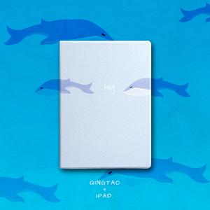 青桃原创蓝鲸苹果ipadmini2/3/4保护套 Air2/pro翻盖<span class=H>休眠</span>超薄<span class=H>皮套</span>
