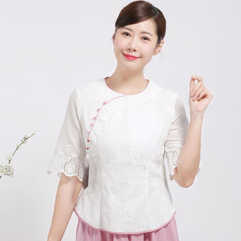唐装改良版女时尚春夏款上衣斜襟刺绣棉麻中袖旗袍复古中国风吊穗