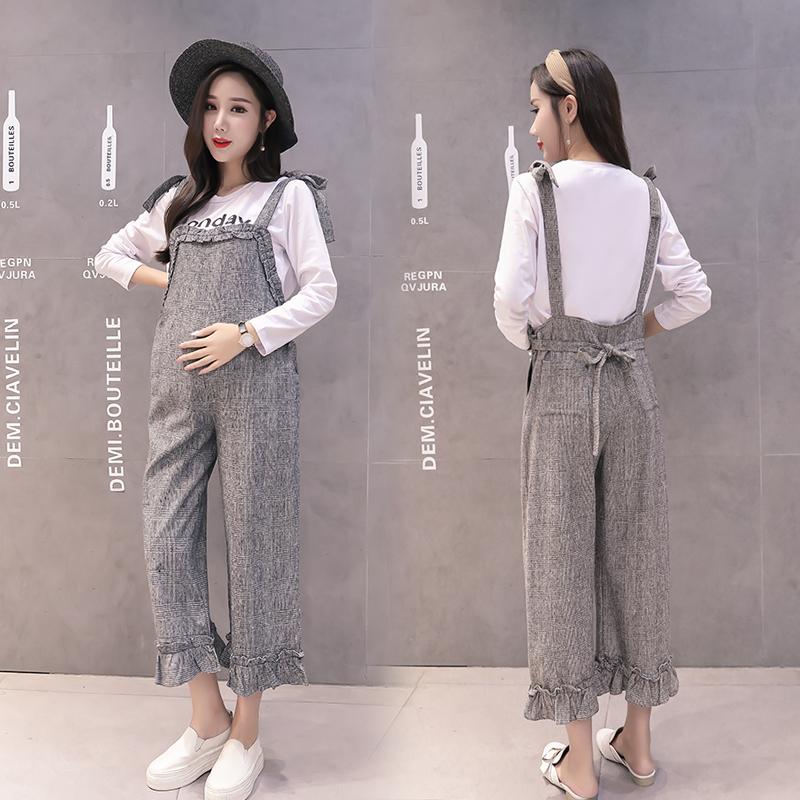 5091#实拍2108秋冬韩版新款格子绑带式背带裤长袖印花两件套套装