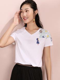 【爆款热卖?#35838;跏澜?#30333;色印花短袖T恤女小心机2019夏装新款V领上衣