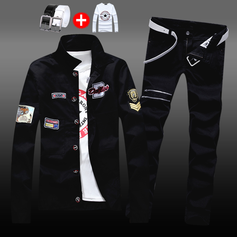 Spring and autumn 2019 mens Korean slim jacket, jeans and pants a suit of casual and handsome trend coat
