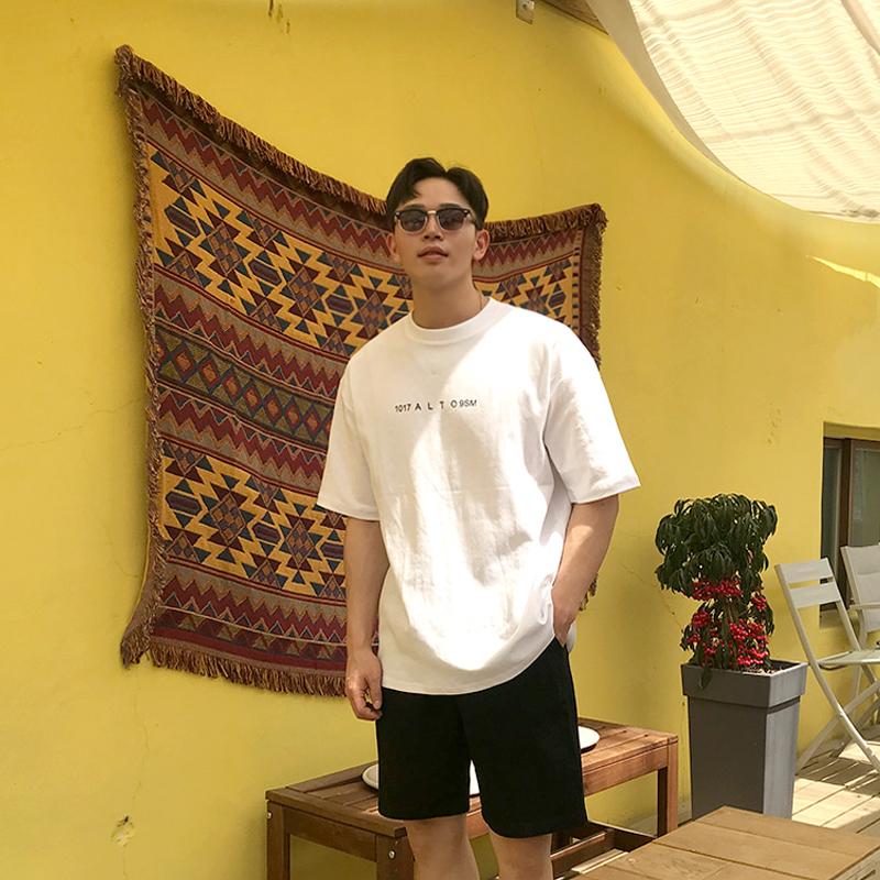 夏季韩版男青年纯棉时尚前后字母半袖中长款百搭纯色短袖t恤 T158