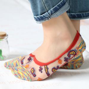 4双装民族风复古袜套棉底超薄水晶丝袜隐形袜浅口防滑船袜女袜子