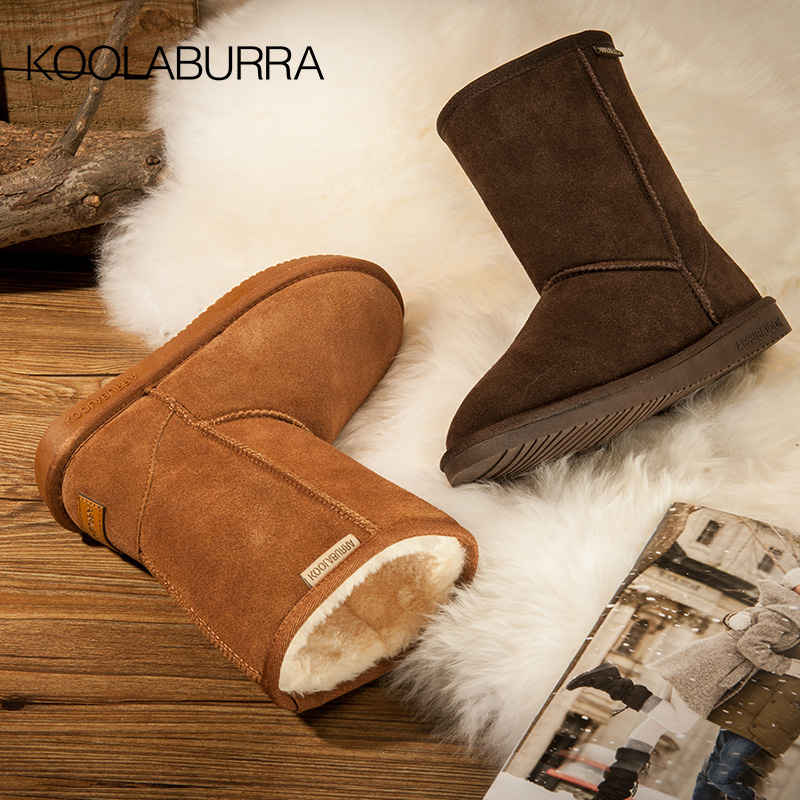 Koolaburra snow boots womens middle tube thick leather winter student cotton shoes leather top Plush antiskid womens Boots