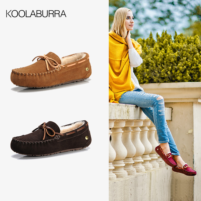 Koolaburra wool Doudou shoes womens cotton Plush winter leather fur one flat snow boots Doudou style