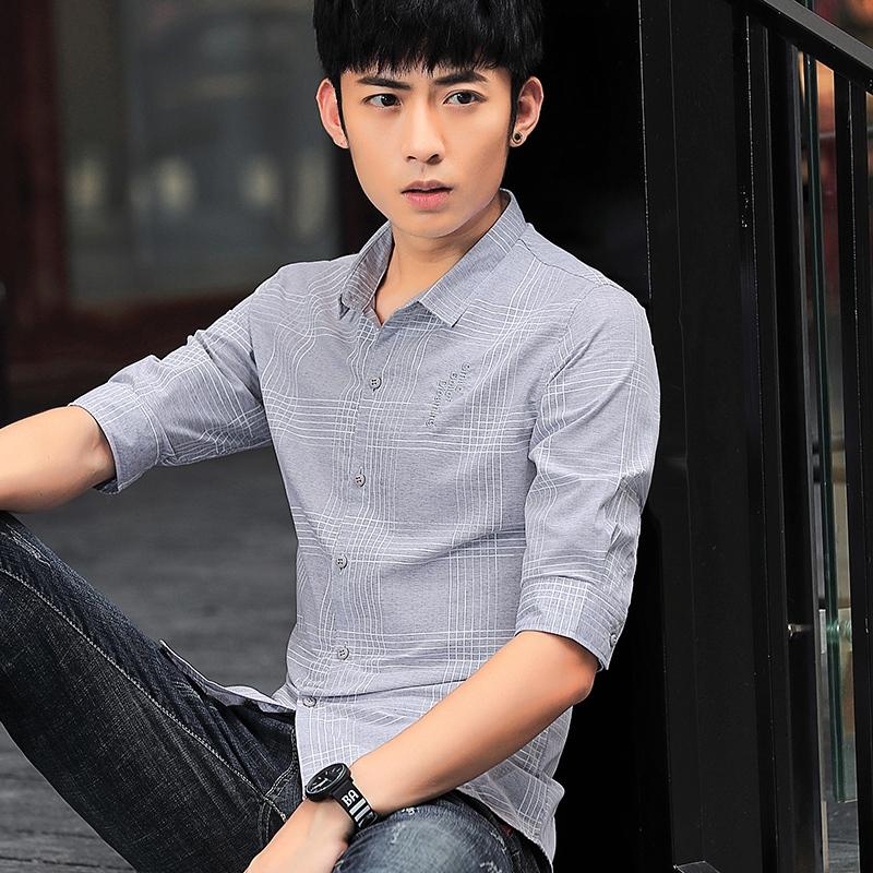 衬衫男春季新款潮牌韩版潮流帅气衬衣男七分长袖衬衫休闲外套