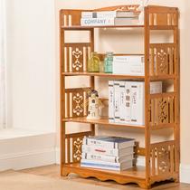 简约书柜楠竹简易书架置物架多层中式加宽书架储物收纳架复古茶色