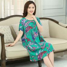 中老年人棉绸睡裙女夏短袖裙连衣裙