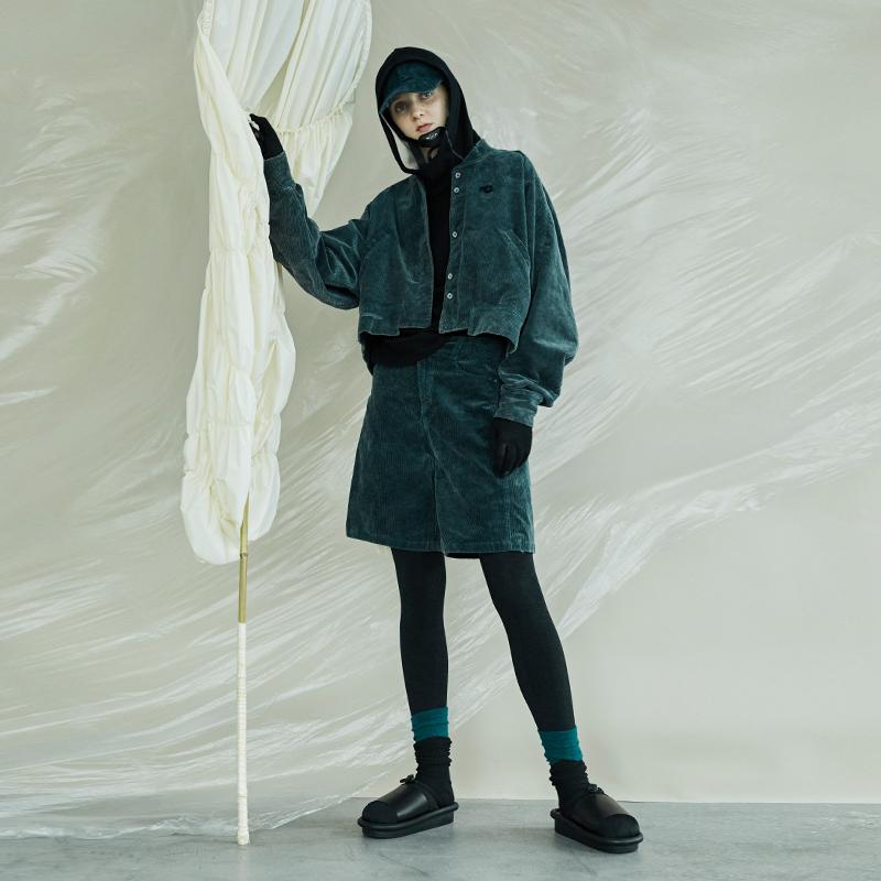 日着酷酷风格女装2019秋季新款 灯芯绒休闲裤子宽松工装直筒短裤