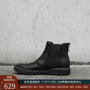 日着原创设计女鞋 黑色真皮头层牛皮鞋子女单鞋平底靴子女短靴