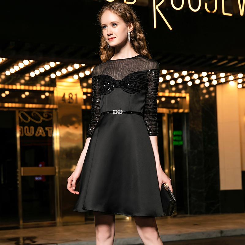 券后759.00元黑色修身显瘦显高连衣裙高档气质a字裙高腰小黑裙矮个子亮片短裙