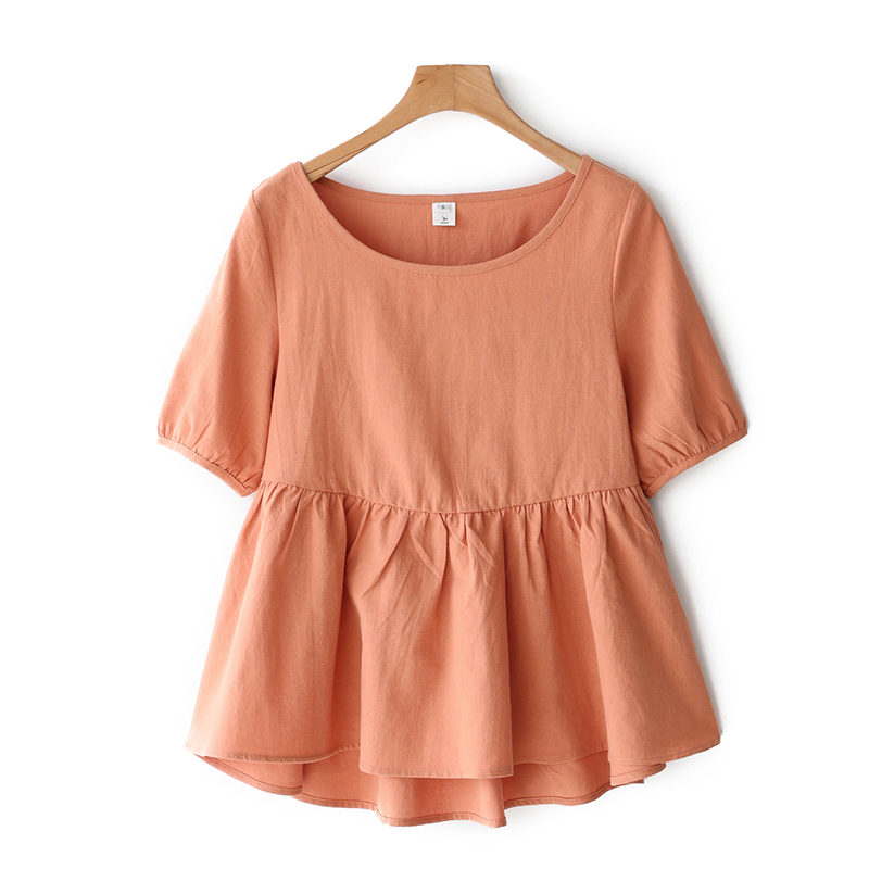 Baby shirt top puffy summer T-shirt cotton hemp short sleeve loose Ruffle edge large womens clothes cover belly show thin shirt