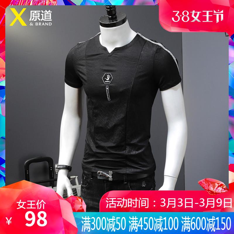 欧洲站夏季男士短袖休闲修身衫t恤(用1元券)