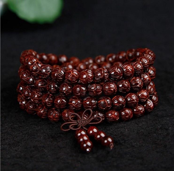 印度小叶紫檀 佛珠手串雕刻莲花珠紫檀手链108颗 小叶紫檀