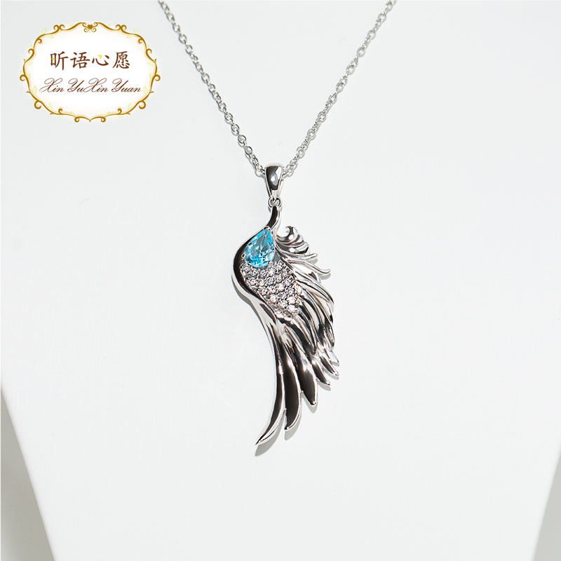 Exclusive original design S925 pure silver gold plated Angel Wings Necklace creative Pendant