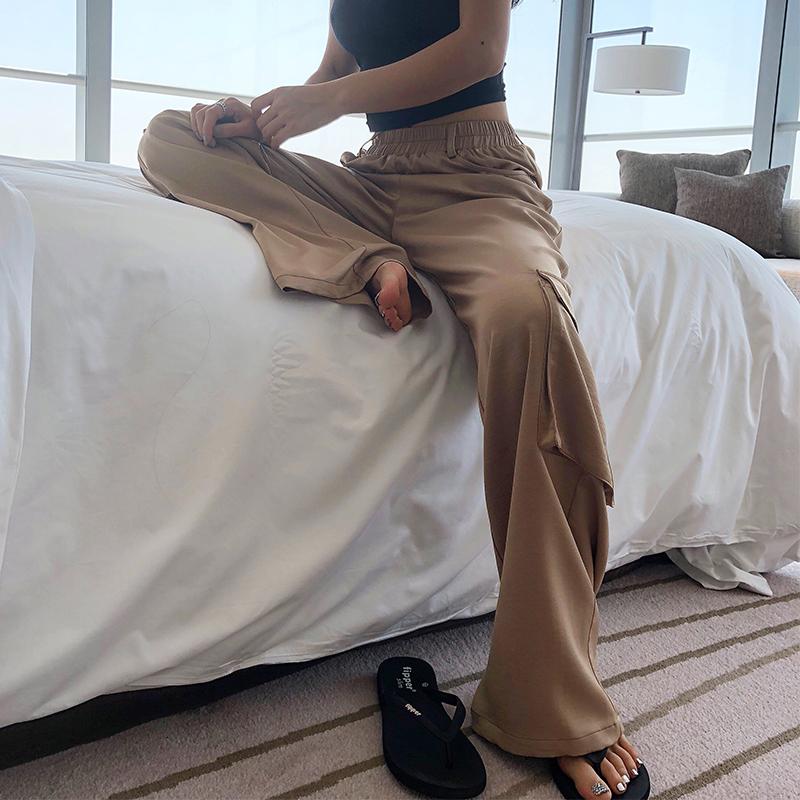 LEIYU垂感阔腿裤女 2018夏季新款纯色宽松休闲欧美hiphop拖地裤子