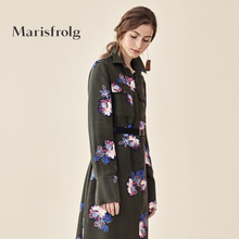 Masefield Women's Dress Fall and Winter 2019 New Wool Dress Mid-long Temperament Printed Skirt Shirt Skirt