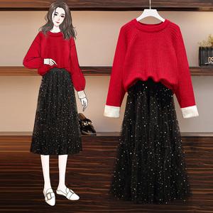 大码女装胖妹妹冬装时尚套装减龄显瘦洋气潮妈毛衣半身裙两件套装