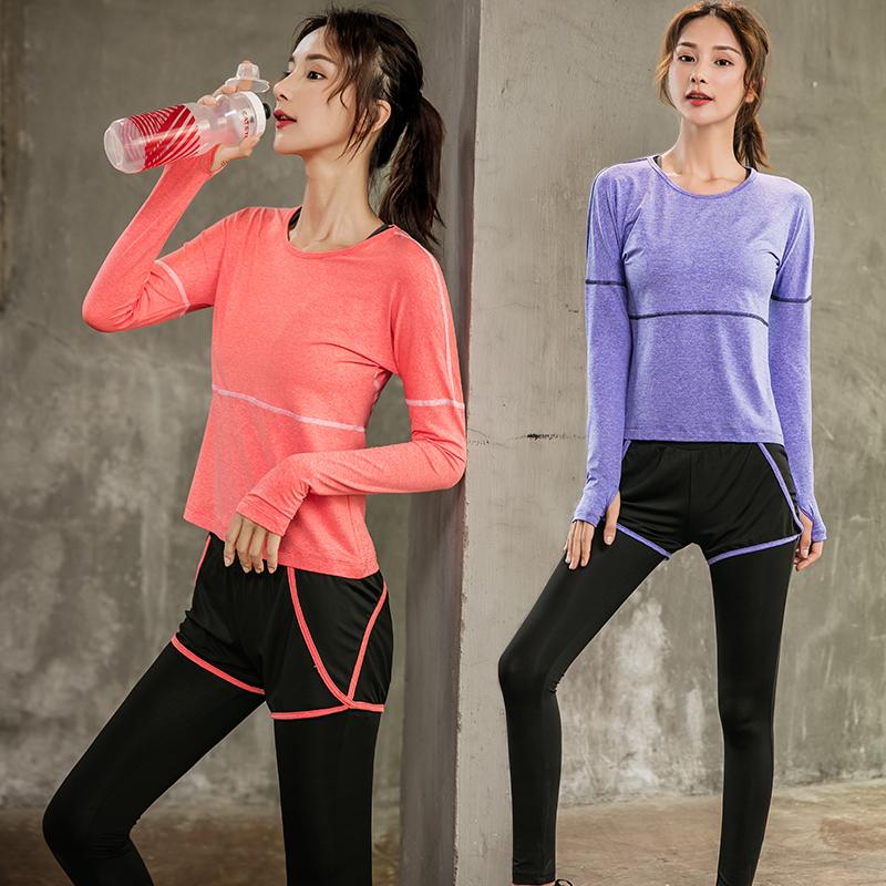 网红性感运动套装女专业健身房跑步速干衣初学者气质仙气瑜伽服女