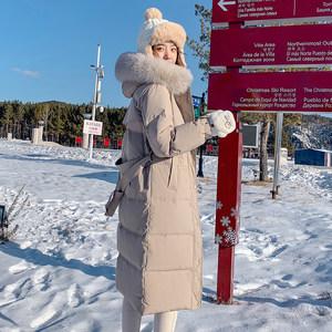 2019年新款羽绒服女中长款韩版收腰时尚白鸭绒长过膝冬季加厚外套