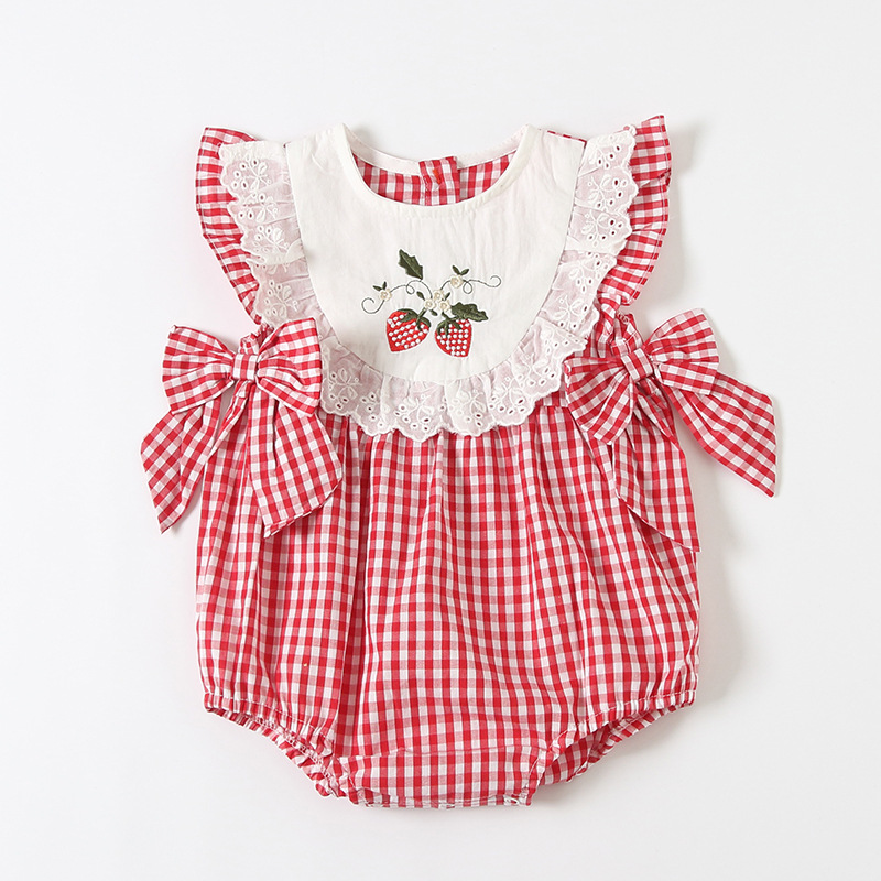 2020 new baby red and white plaid embroidered Jumpsuit