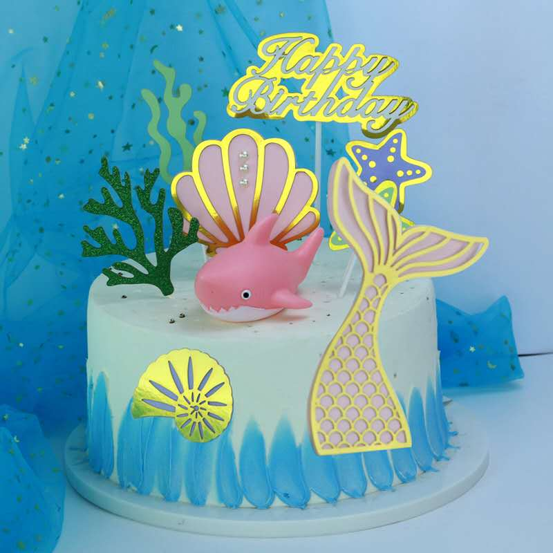 Shell fish beauty tail Castle fairy suit birthday cake plug in flash powder grass plant baking card