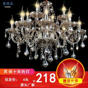 欧式客厅水晶蜡烛灯现代简约餐吊大厅双层复古酒吧灯具6头8头10头