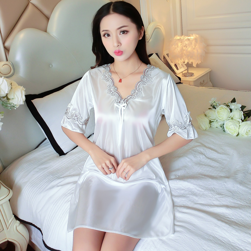 Korean loose large size slim Dress Pajamas home clothes sexy underwear appeal embroidered one piece womens clothes