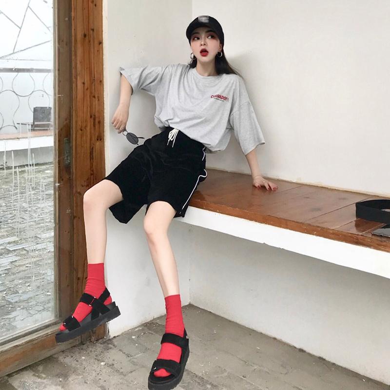 女夏新款港味字母印花短袖T恤高腰丝绒阔腿裤时尚套装网红两件套