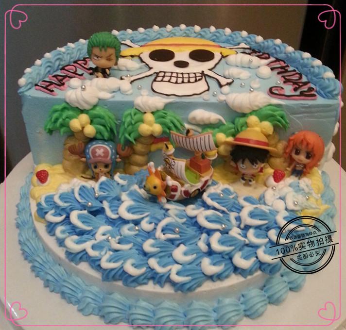 定制创意海贼王儿童主题场景生日蛋糕宁波广州北京杭州全国配送