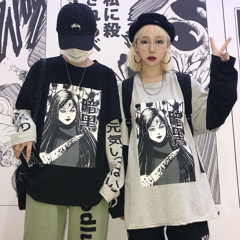 元气少女 原宿风暗黑系INS同款漫画日文字印花拼接假两件情侣卫衣