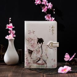 古风全彩手账本 中国风小清新少女手绘磁扣本 PU皮面文艺笔记本子