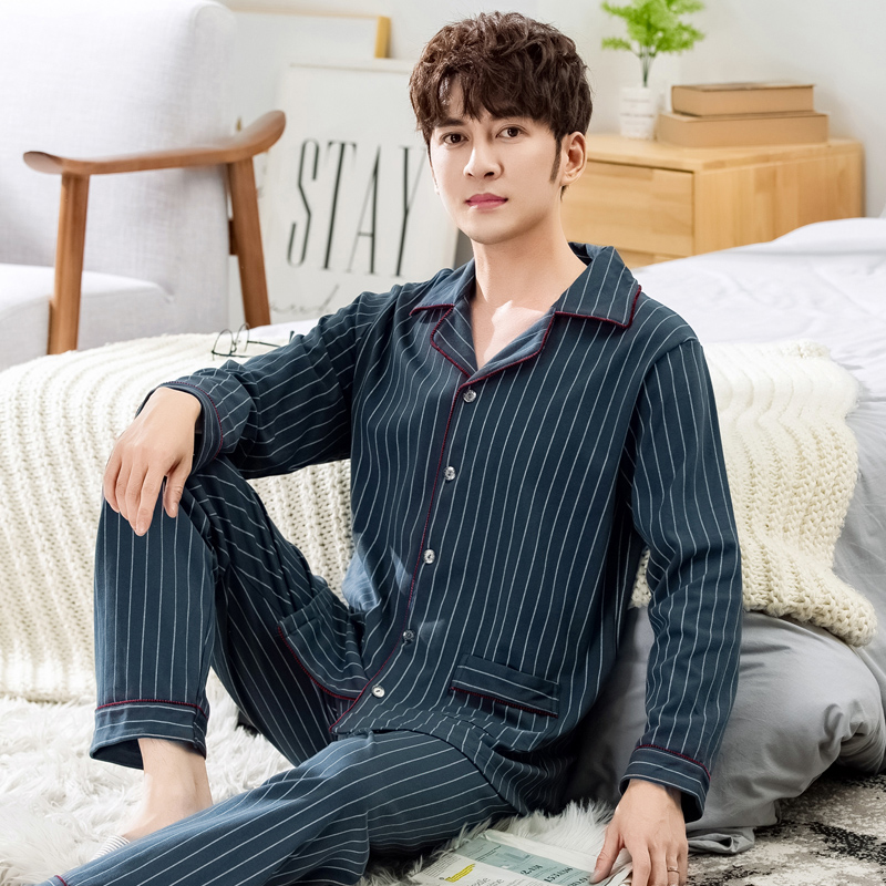 Red bean spring and autumn cotton pajamas mens Plaid long sleeves Plus Size Cotton middle-aged home clothes set special price winter