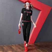 欧货夏季休闲套装女2021新款欧洲站时尚短袖T恤女装运动束脚裤潮
