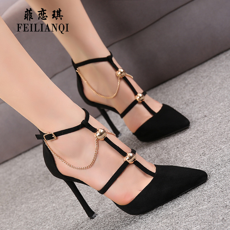 Black high heels 2020 new versatile thin heel suede one button hollow chain single Shoes Sexy pointed sandals