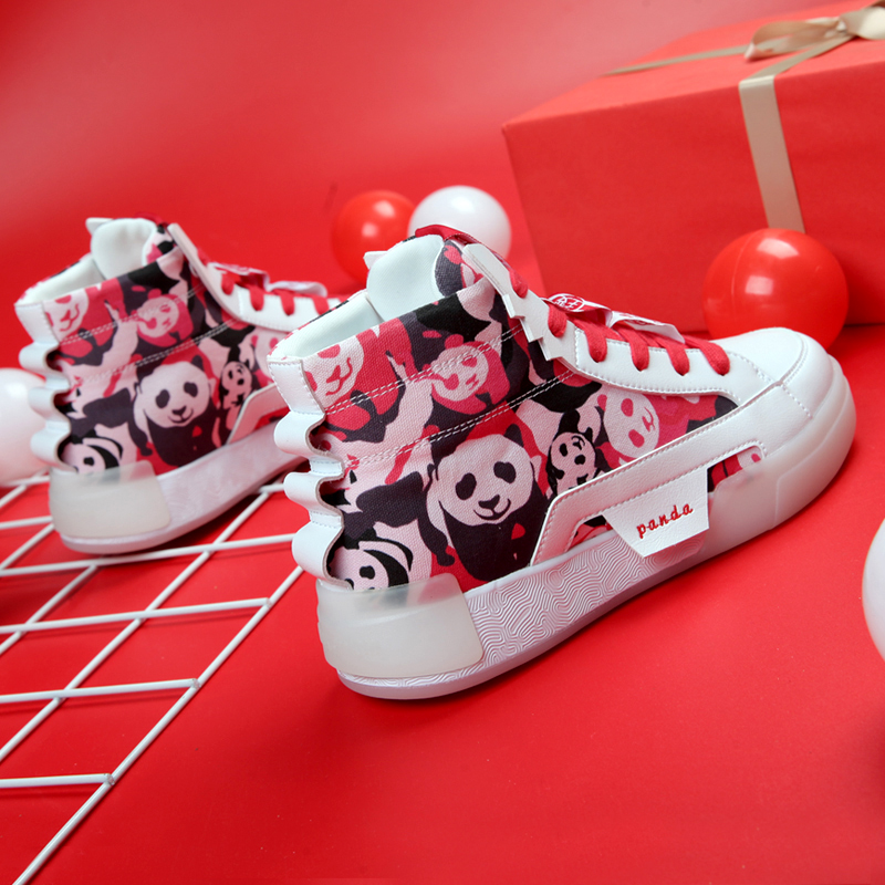 IDX / aidingke / camouflage panda peak state co Star Tai Chi trend men's high top graffiti canvas shoes board shoes