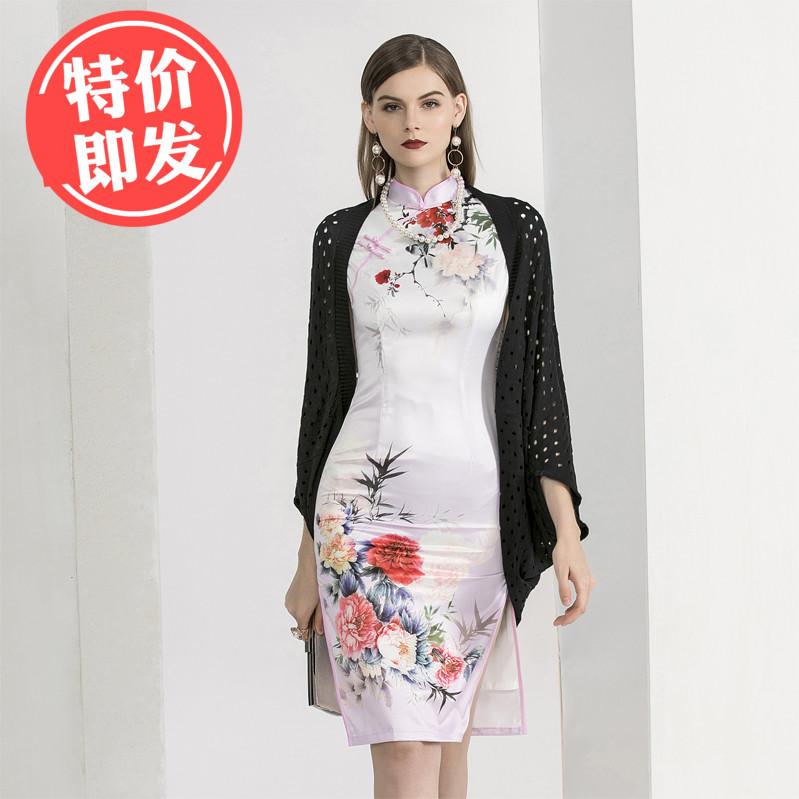 冰丝针织开衫春秋外套中长款复古披肩镂空配裙子夏季配旗袍的外搭