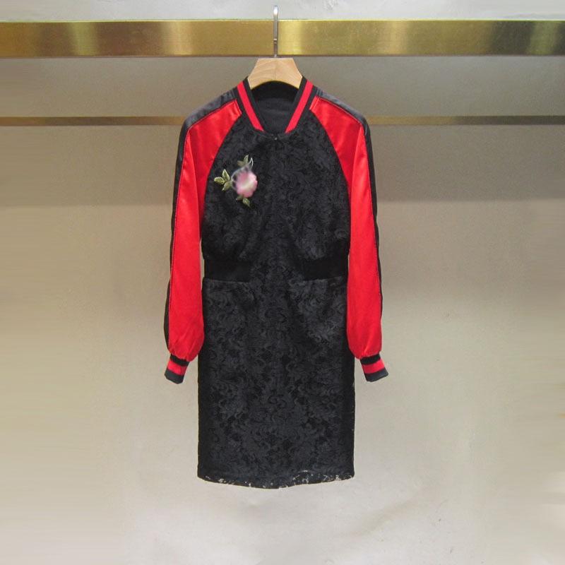现货2018新品女春装拼接蕾丝连衣裙棒球款刺绣长袖MA 2GN1EP1B10